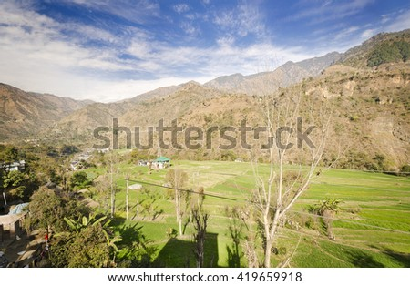 Beautiful valley View on the way to Shimla - stock photo