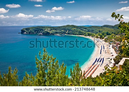 Beautiful Valtos beach near Parga town of Syvota area in Greece. - stock photo