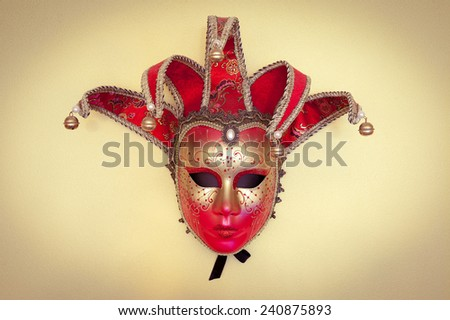 Beautiful Venetian carnival mask on a light background