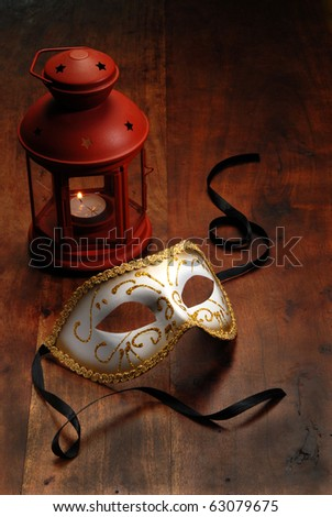 Beautiful Venetian mask   on a table