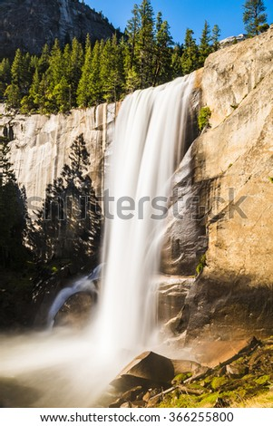 Beautiful Vernal Falls is located on Merced river. Yosemite National Park, California, USA. Long exposure - stock photo