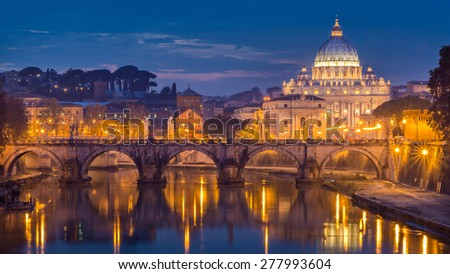 Beautiful Vibrant Night image Panorama of St. Peter's Basilica, Ponte Sant Angelo and Tiber River at Dusk in Summer. Reflection of The Papal Basilica of St. Peter in the Vatican City, Rome, Italy - stock photo