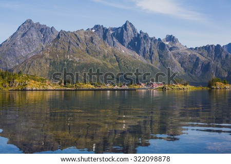 Beautiful Vibrant Norwegian Mountain Landscape with fjord, lake, mountain, Lofoten Islands, Norway, Norge - stock photo