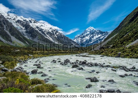 Beautiful view and glacier in Mount Cook National Park, South Island, New Zealand - stock photo