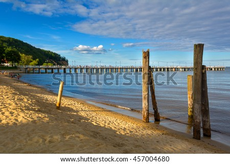 Beautiful view at the beach and pier in Orlowo, district in Gdynia city. Poland. Baltic sea. - stock photo