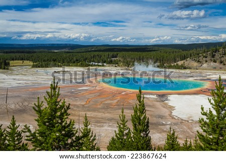 beautiful view from a hillside of grand prismatic pool in yellowstone national park - stock photo