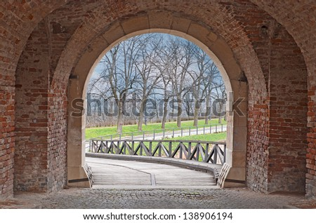 Beautiful view from arched passage - stock photo