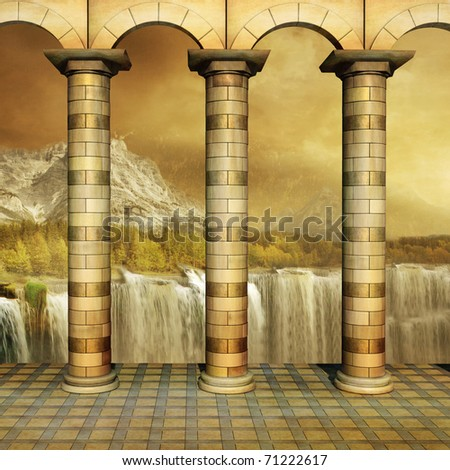 Beautiful view from Colonnade on a gold Forest - stock photo
