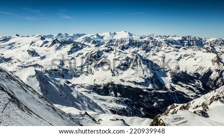 Beautiful view from Kitzsteinhorn peak, Kaprun ski resort in Alps - stock photo