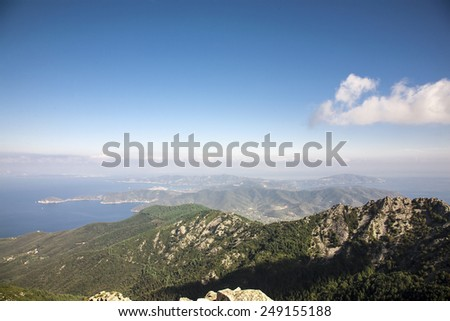 beautiful view from Monte Capanne in Elba Island - stock photo