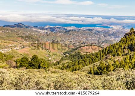 Beautiful View From Pico de las Nieves - Tejeda, Gran Canaria, Canary Islands, Spain - stock photo