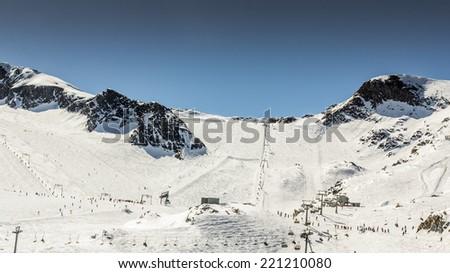 Beautiful view from ski resort in Alps - stock photo