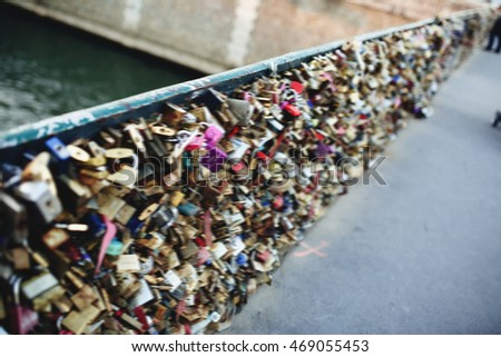 beautiful view from the bridge of lovers in Paris blur