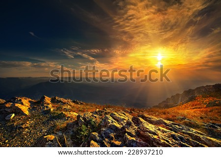 Beautiful view from the Chatyrdag at sunset - stock photo