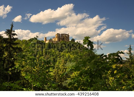 Beautiful view from the opposite hill to the castle ruins in Boskovice. - stock photo
