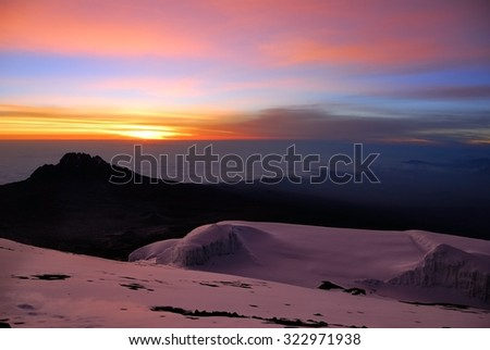 Beautiful view from the slopes of the mt Kilimanjaro on the peak Mawenzi in Tanzania at sunrise, Eastern Africa - stock photo
