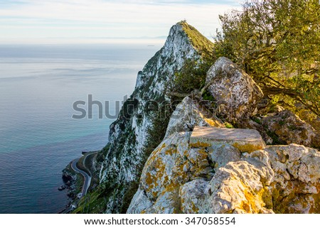 Beautiful view from the top of the rock of Gibraltar on the African coastline and Morocco on the other side of the canal - stock photo