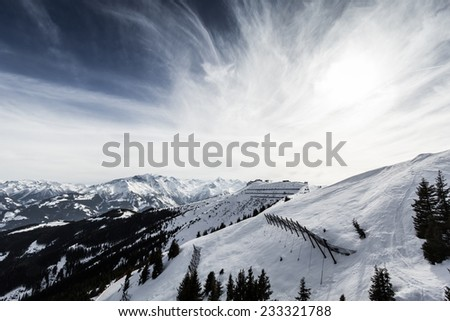 Beautiful view from Zell am See- Kaprun ski resort in Alps - stock photo