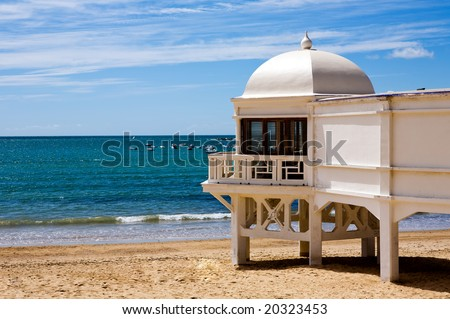 Beautiful view of a beach in Cadiz at sunny day, Andalusia, Spain - stock photo