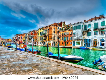 Beautiful view of a canal in Venice Italy. HDR processed - stock photo