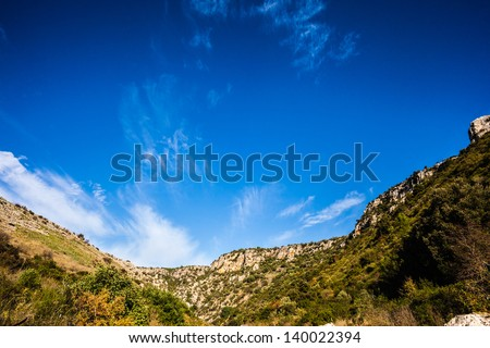 beautiful view of a mountainous region of the italian peninsula - stock photo