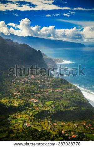 beautiful view of a northern coast of Madeira near the small village Arco de Sao Jorge - stock photo
