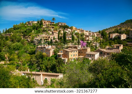 beautiful view of a small mountain village Deia in Mallorca, Spain