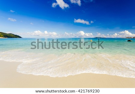 Beautiful view of a tropical beach in Praslin, Seychelles - stock photo