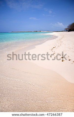 Beautiful view of a tropical island shoreline. - stock photo