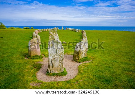 Beautiful view of Ales stones, impressing archaeological megalithic monument in Skane, Sweden - stock photo
