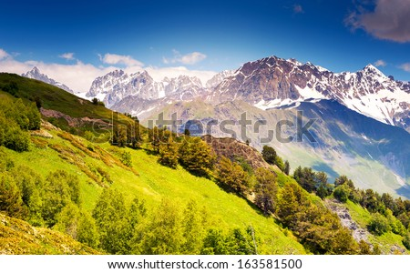 Beautiful view of alpine meadows. Upper Svaneti, Georgia, Europe. Caucasus mountains. Beauty world. - stock photo
