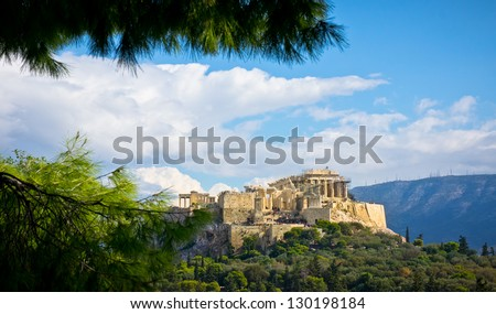 Beautiful view of ancient Acropolis, Athens, Greece - stock photo