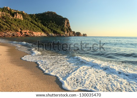 Beautiful view of ancient fortress in Alanya, Turkey - stock photo