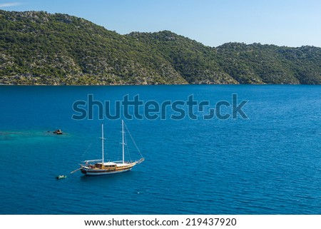 Beautiful view of ancient Kekova Island yacht boat in the Mediterranean Sea. View from the peninsula Simena. - stock photo