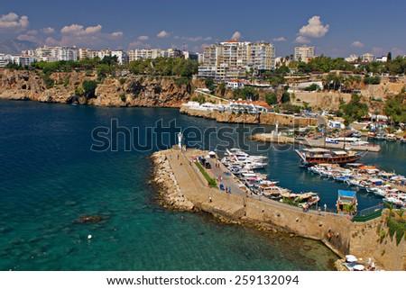 Beautiful view of Antalia harbor in old Turkey - stock photo