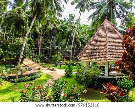 Beautiful View Ayurvedic Resort Surrounded By Stock Photo