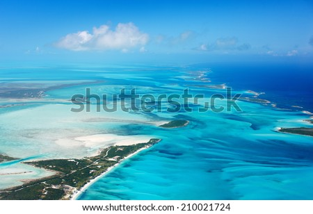 Beautiful view of Bahamas islands from above - stock photo