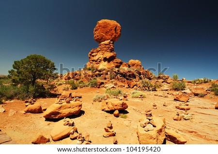 Beautiful view of  balanced rock - stock photo