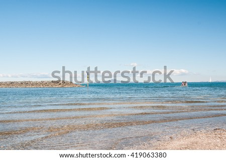 Beautiful view of beach and sea near Auckland, New Zealand - stock photo
