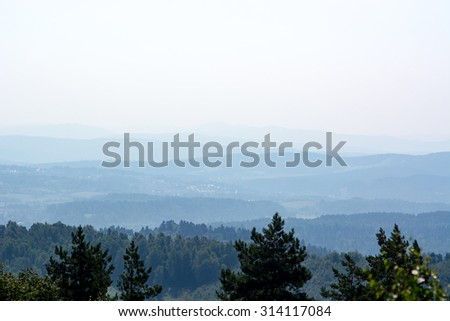 Beautiful view of Bieszczady mountains in Poland - aerial perspective