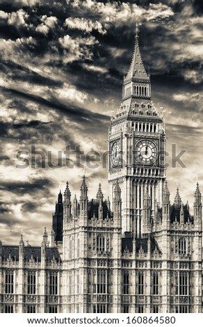 Beautiful view of Big Ben in London. - stock photo
