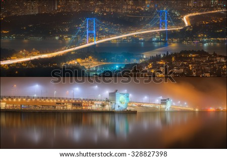 Beautiful view of Bosphorus and night cityscape Istanbul, Turkey - stock photo