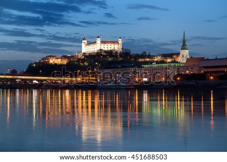 Beautiful view of Bratislava castle at night in Slovakia