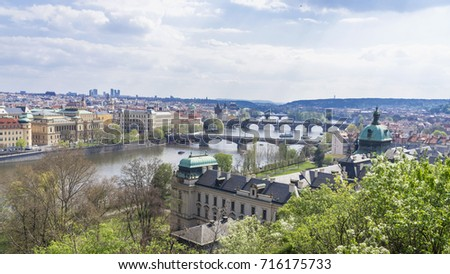 Beautiful view of bridges and the old town in Prague, the capital city of Czech republic