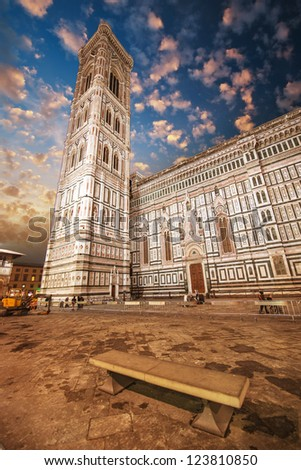 Beautiful view of Campanile in Florence - Piazza del Duomo. - stock photo
