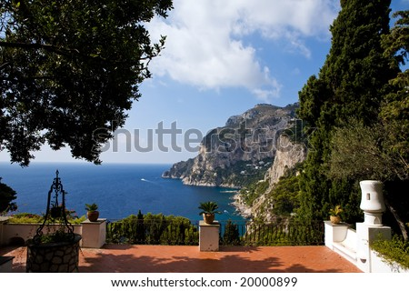 Beautiful view of Capri Island from classical italian terrace, southern Italy - stock photo