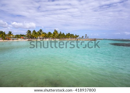 Beautiful view of Caribbean lagoon in Guadeloupe