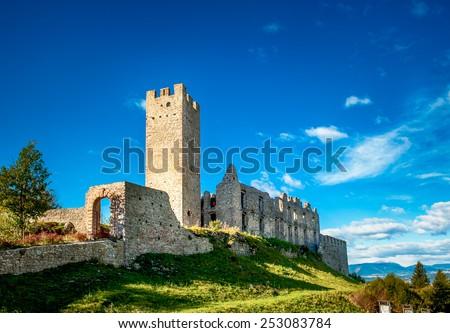 Beautiful view of Castle Belfort in Trentino Alto Adige, northen Italy - stock photo