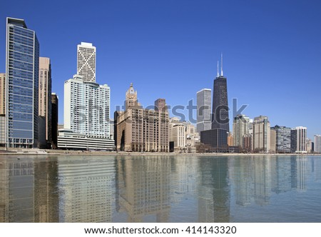 Beautiful view of Chicago city - stock photo