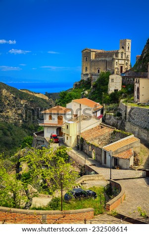 beautiful view of Church of St. Nicolo in Savoca - small village near Taormina, Sicily, Italy - stock photo